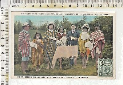 """Panama -Stamp - Indians Selling Panama Hats To I. L. Maduro, Jr.'s Buyer"""" 1931"""