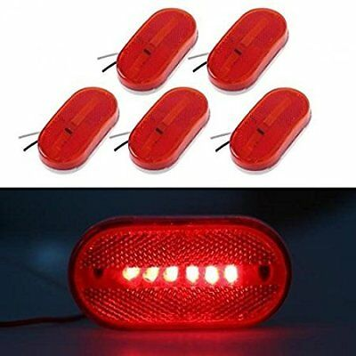 5P 12V Oval Oblong Red Side Marker Clearance Lamp w/ White Base Replacement Ligh
