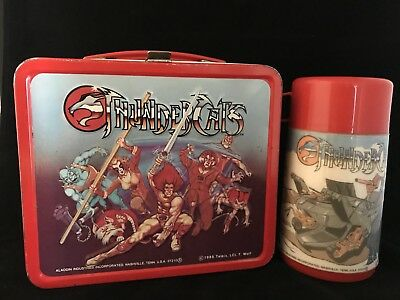 VINTAGE 1985 ALADDIN THUNDERCATS METAL LUNCHBOX WITH THERMOS- Nice Condition!!!