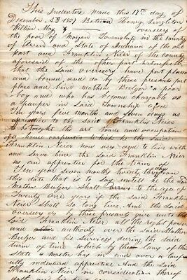 1857, Indiana, 10 year old boy, apprenticeship contract, house carpenter, signed