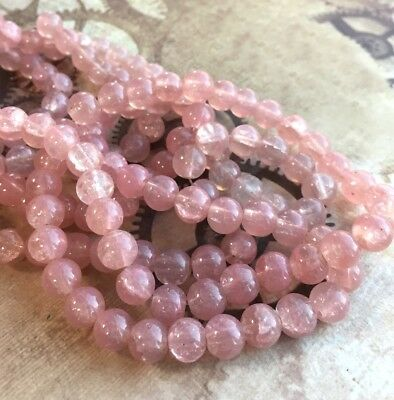 100 pcs - 8 mm round glass pink crackle beads