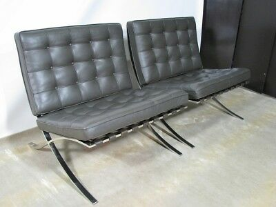 *PAIR* 1980's Mies Van Der Rohe Knoll Barcelona Chairs; Brown Leather Cushions