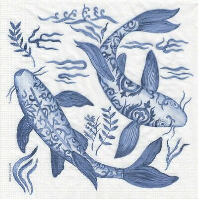 4x Paper Napkins for Decoupage Decopatch Craft Ron Tanovitc: Emperor's Koi