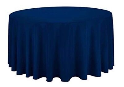 "120"" Round Tablecloths, Navy Blue, Quantity of 10"