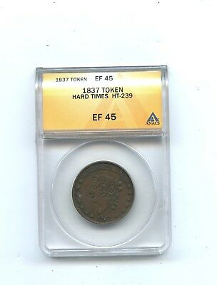1837 Token, Hard Times HT-239, ANACS EF 45 ...14TH ward new york