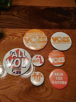 University Of Tennessee Vols Lot Of 7 VTG Buttons 80's 90's