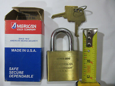 "American Lock 5570 Solid Brass 2"" Wide Pad Lock Keyed Alike 2-Keys NEW!!! in Box"