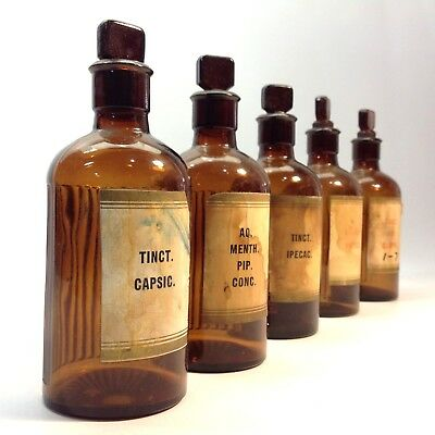 Lot of Vintage / Antique Apothecary / Chemists Bottles with Glass Stoppers
