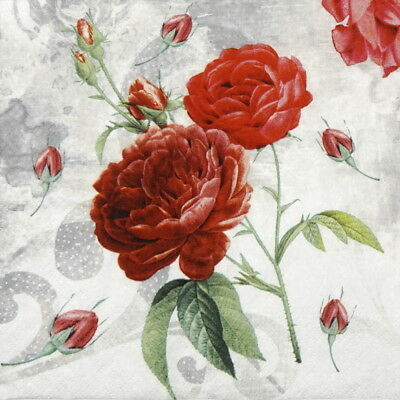 4x Paper Napkins for Decoupage Decopatch Craft Rose Garden