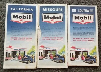 NM Mobil Gas Oil California The Southwest and Missouri. Map LOT 3x