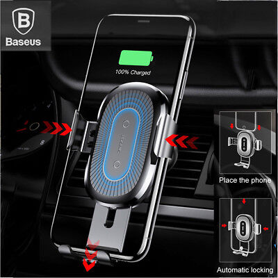 Baseus 10W Qi Wireless Fast Charger Gravity Car Mount Holder For IPhone Samsung