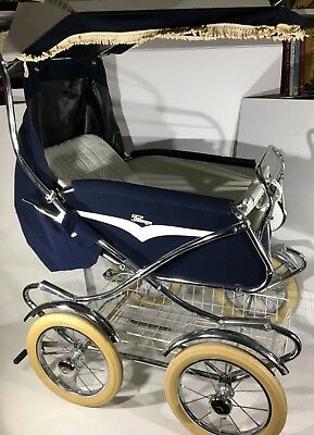 Vintage Perego Baby Canopy Stroller Baby Carriage 1960's Or 1970's Blue & White