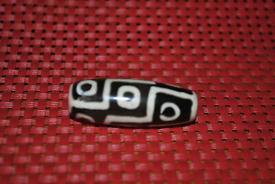 tibetan prayer worry dzi bead old agate 9  eyes amulet gzi antique tibet  K16