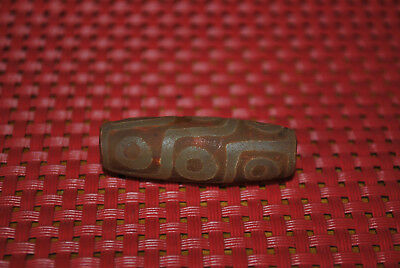 tibetan prayer worry dzi bead old agate 9  eyes amulet gzi antique tibet  K15