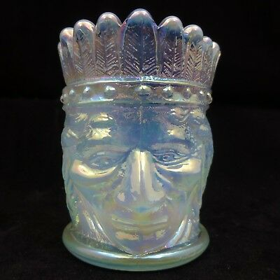 ST CLAIR Summit AQUA Blue CARNIVAL Glass TOOTHPICK HOLDER Native American INDIAN