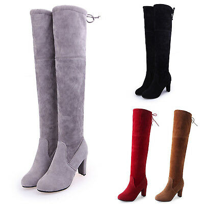 2019 Womens Winter Thigh High Boots Over The Knee Stretch Block High Heel Shoes