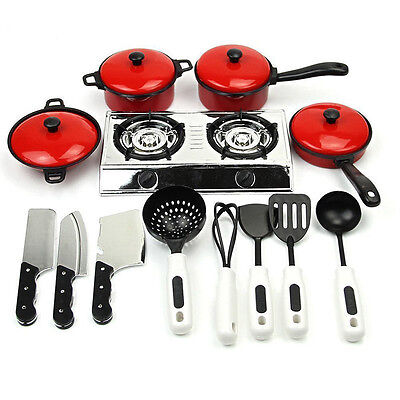 House Toy Kids Play Kitchen Utensils Cooking Food Pans Pots Dishes Cookware Set