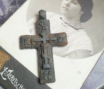 Rare Antique Orthodox Bronze Russian cross With Iсons imperial Russia صليب 3