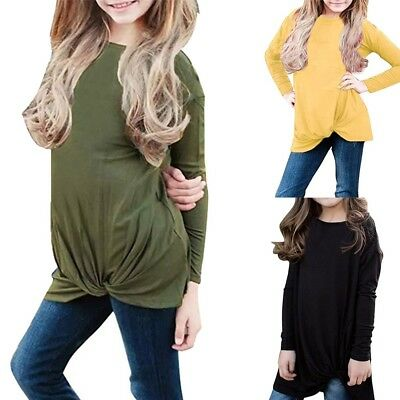 Toddler Baby Girls Long Sleeve Blouse Solid Shirt Knot Front Tee Shirts Pullover