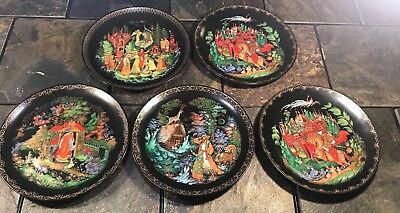 5 Russian Legends Fairy Tales Tianex Collector Plates 1988-1990