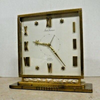 Seth Thomas Heavy Brass Desk / Shelf Clock Working Art Deco With Alarm Vega