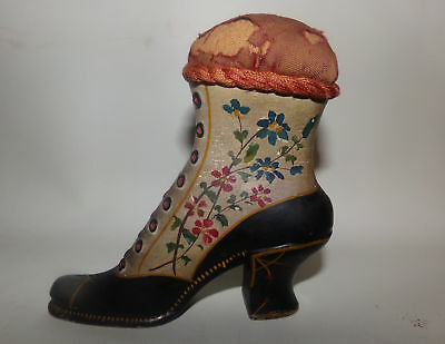 ANTIQUE PIN CUSHION-SEWING-VICTORIAN SHOE-HAND PAINTED-1870s?5.5in-PATINA-RARE!