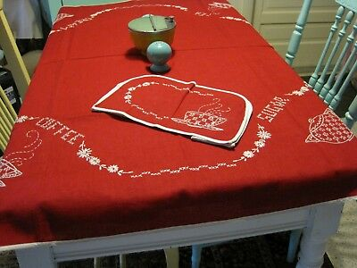 Adorable Vintage Red & White Embroidered Tablecloth w/matching Toaster Cover