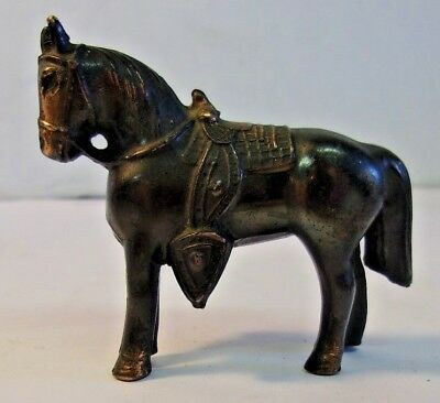 """Vintage Metal Bronze Copper Color Horse Miniature - only 2 3/4"""" long by 2"""" tall"""