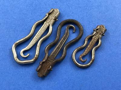 Three Antique Folding Bow Button Hooks from France