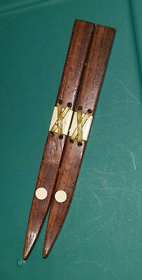 """Rare Antique HAND MADE Miniature WOODEN SKIS Pin Brooch - 4-3/4"""" Long"""