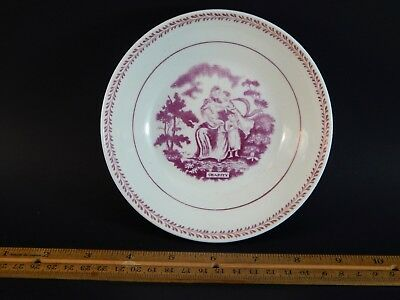 Poignant Antique English Staffordshire Pink Saucer Orphaned Charity Children