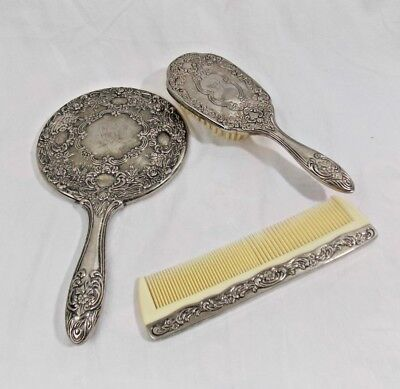 Vintage Hand Mirror Brush and Comb Vanity Set Silver Plated Beauty Monogrammed