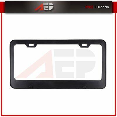 1x Black Carbon Fiber Front/Rear License Plate Frame Cover Tag for Dodge Chevy