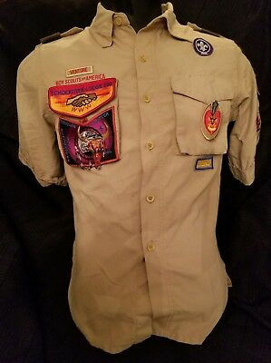 🌟 Boy Scout Shirt Short Sleeve Youth M Shirt Tan with RARE Patches Pin 🌟