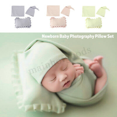 3Pcs Filled Newborn Baby Photography Posing Pillow Blanket Hat Props Soft
