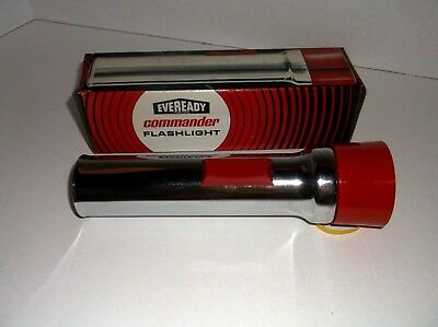 Vintage Retro  NOS Eveready 5251 2 D Cell Commander Flashlight Light 1960 Camper