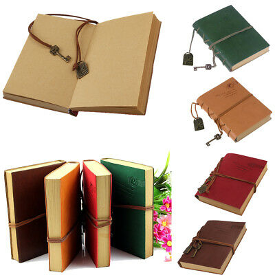 1x Vintage Style PU Cover Blank Notebook Notepad Travel Journal Diary Sketchbook
