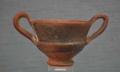 Authentic Ancient Greek 4-3th Century B.C. Terracotta Pottery Wine Cup Kantharos