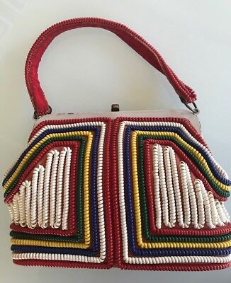 Vintage 40s Multi Colored Framed TELEPHONE CORDE CORD Handbag-Smaller cord
