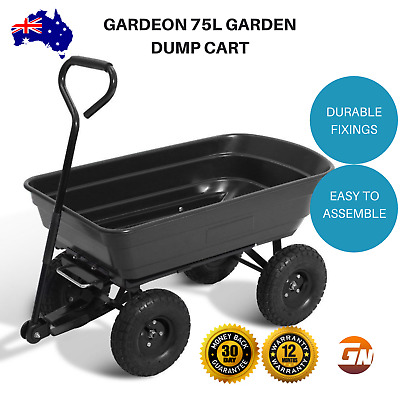 Gardeon 75L Garden Dump Cart Tipping Bed Trolley Wagon Wheelbarrow - Black