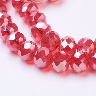 72pcs/Strand Red AB Color Electroplate Glass Crystal Beads Faceted Abacus 8x6mm