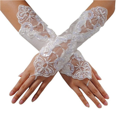 Short Wedding Lace Beaded Gloves White Bridal Fingerless Gloves Accessory Party