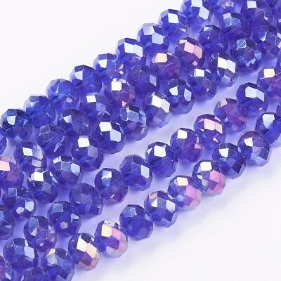 1 Strand Dark Blue AB Color Rondelle Glass Crystal Beads Faceted Abacus 8x6mm