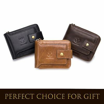 New Genuine Leather Mens Wallet Zipper Coin Purse Vintage Retro RFID Billfold US