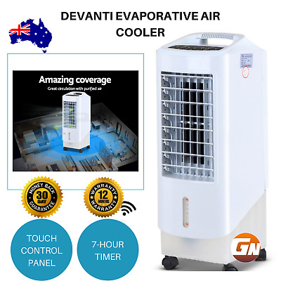 Devanti Evaporative Air Cooler On Wheel 3 Speed Cyclone Fan Remote Portable