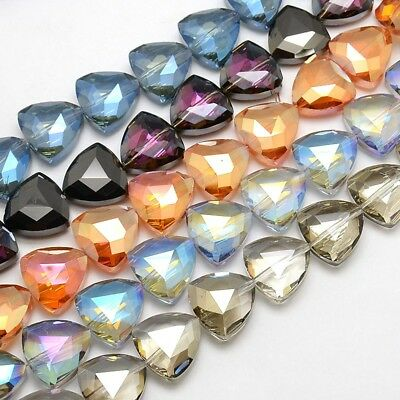 10/350pc Glass Triangle Crystal Faceted Loose Beads Mixed Color DIY Jewelry Make