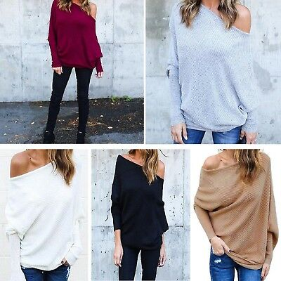 Off the Shoulder Top New Women Plus Size Knit Ladies Oversized Baggy Sweater