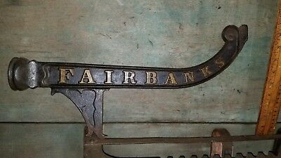 Vtg Antique Fairbanks Cast Iron Scale Part Repurpose Plant Hanger Sign Bracket