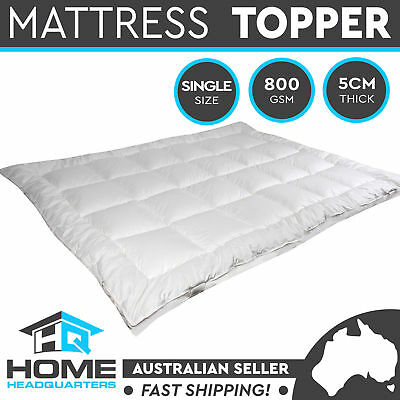 Mattress Topper King Single Underlay Cotton Cover Pillowtop Quilted Protector