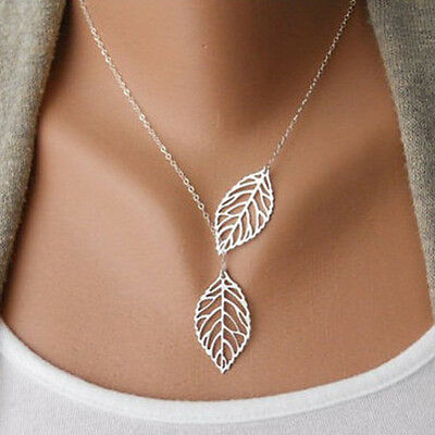 Chic Silver Gold Choker Chain Collar Double Leaves Pendant Necklace Jewelry Gift